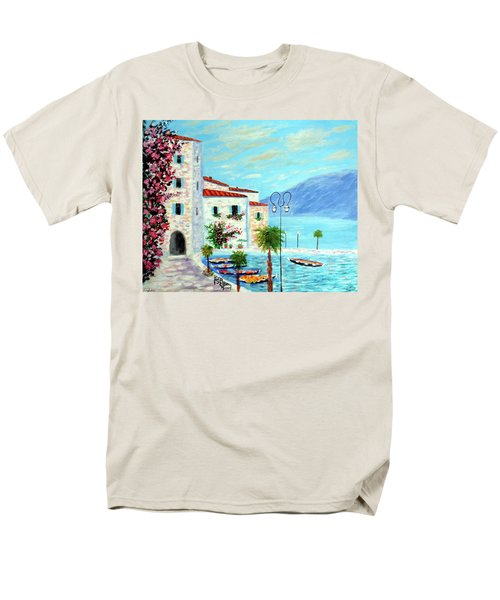 Men's T-Shirt  (Regular Fit) featuring the painting Lake Garda Bliss by Larry Cirigliano