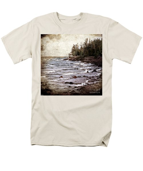 Men's T-Shirt  (Regular Fit) featuring the photograph Lake Superior Waves by Phil Perkins