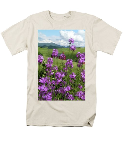 Men's T-Shirt  (Regular Fit) featuring the photograph Landscape With Purple Flowers In Virginia by Emanuel Tanjala