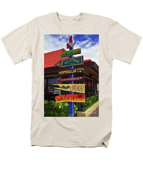 Men's T-Shirt  (Regular Fit) featuring the photograph Lanikai Kailua Waikiki Beach Signs by Aloha Art