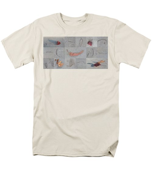 Men's T-Shirt  (Regular Fit) featuring the photograph Leaves And Cracks Collage by Ben and Raisa Gertsberg