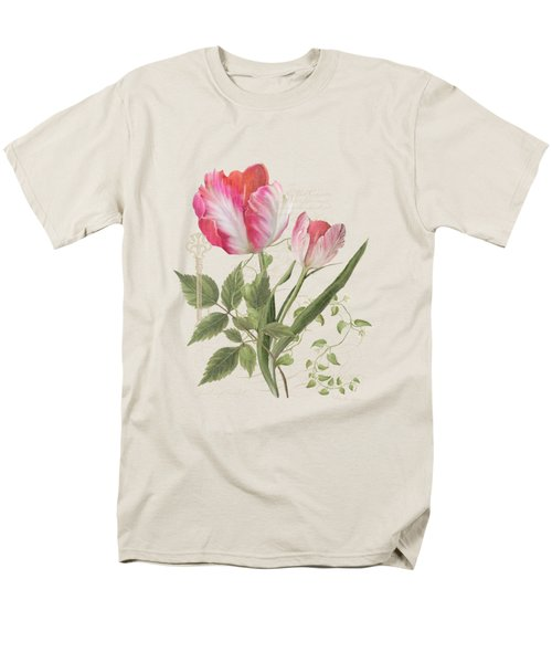 Men's T-Shirt  (Regular Fit) featuring the painting Les Magnifiques Fleurs I - Magnificent Garden Flowers Parrot Tulips N Indigo Bunting Songbird by Audrey Jeanne Roberts