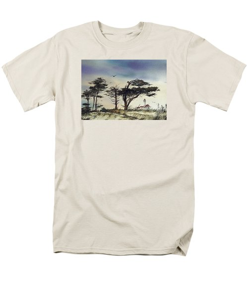 Men's T-Shirt  (Regular Fit) featuring the painting Lighthouse Coast by James Williamson