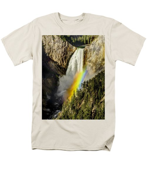 Men's T-Shirt  (Regular Fit) featuring the painting Lower Falls- Yellowstone Park by Penny Lisowski