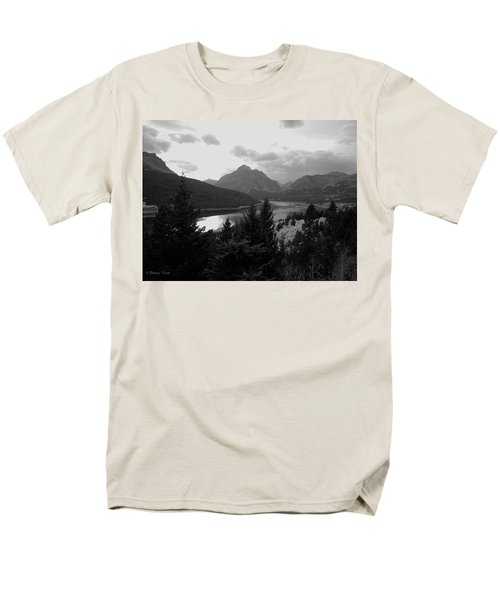 Lower Two Medicine Lake In Black And White Men's T-Shirt  (Regular Fit)