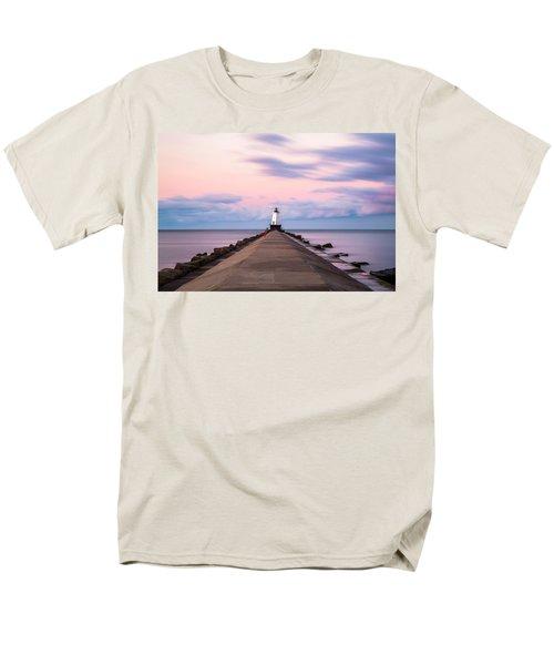 Men's T-Shirt  (Regular Fit) featuring the photograph Ludington North Breakwater Light Sunrise by Adam Romanowicz