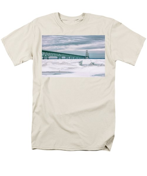 Men's T-Shirt  (Regular Fit) featuring the photograph Mackinac Bridge In Winter During Day by John McGraw