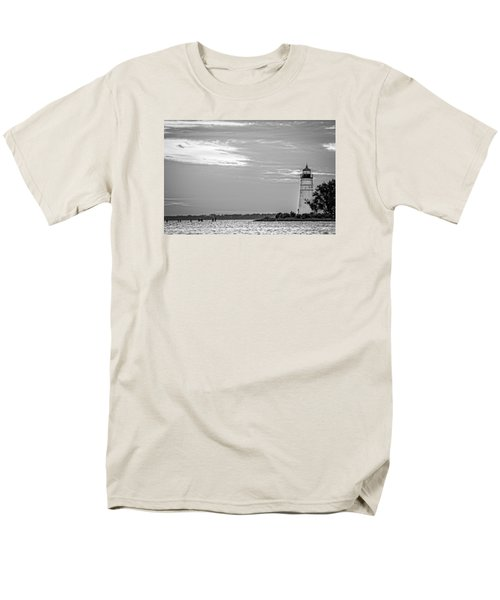 Men's T-Shirt  (Regular Fit) featuring the photograph Madisonville Lighthouse In Black-and-white 2 by Andy Crawford