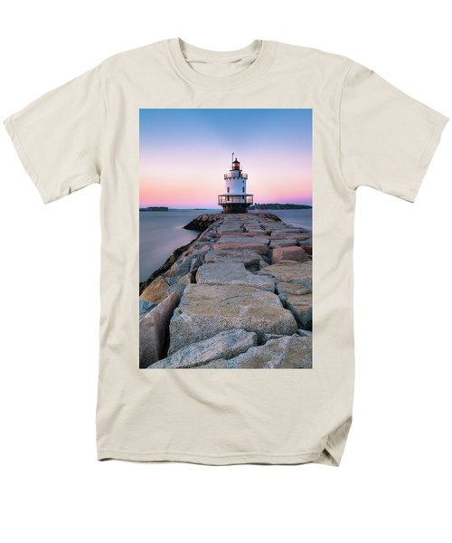 Men's T-Shirt  (Regular Fit) featuring the photograph Maine Coastal Sunset Over The Spring Breakwater Lighthouse by Ranjay Mitra