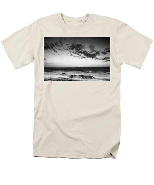 Maine Rocky Coast With Boulders And Clouds At Two Lights Park Men's T-Shirt  (Regular Fit) by Ranjay Mitra