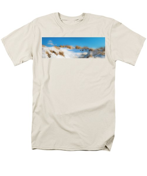 Maine Snow Dunes On Coast In Winter Panorama Men's T-Shirt  (Regular Fit) by Ranjay Mitra