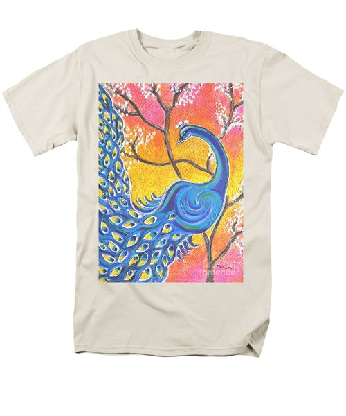 Majestic Peacock Colorful Textured Art Men's T-Shirt  (Regular Fit)