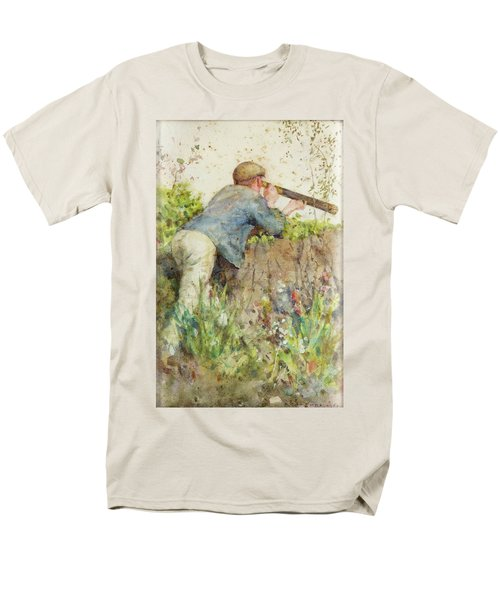 Men's T-Shirt  (Regular Fit) featuring the painting Man Looking Through A Telescope by Henry Scott Tuke