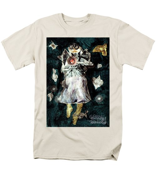 Men's T-Shirt  (Regular Fit) featuring the painting Masked Angel Holding The Sun by Genevieve Esson