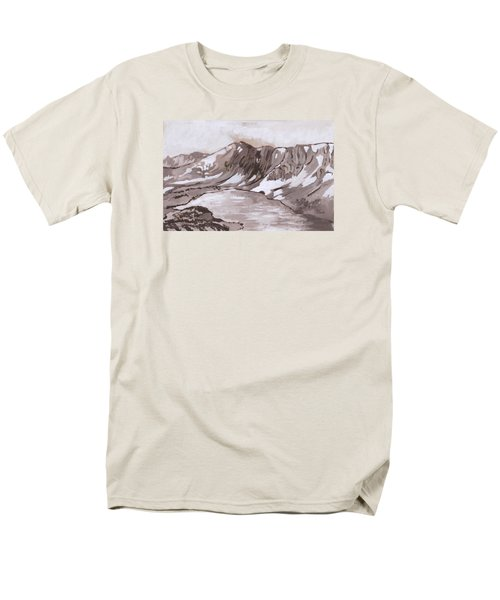 Men's T-Shirt  (Regular Fit) featuring the painting Medicine Bow Peak Historical Vignette by Dawn Senior-Trask