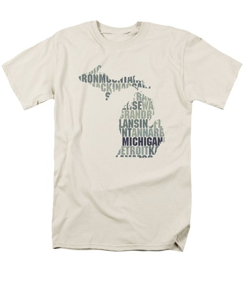 Michigan State Outline Word Map Men's T-Shirt  (Regular Fit) by Design Turnpike