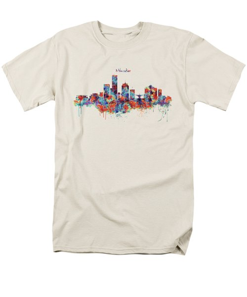 Men's T-Shirt  (Regular Fit) featuring the mixed media Milwaukee Watercolor Skyline by Marian Voicu