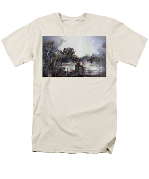 Men's T-Shirt  (Regular Fit) featuring the painting Misty Pond by Geni Gorani