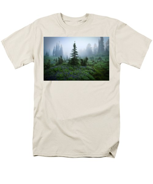 Moody Myrtle Falls Trail At Mount Rainier Men's T-Shirt  (Regular Fit) by Lynn Hopwood