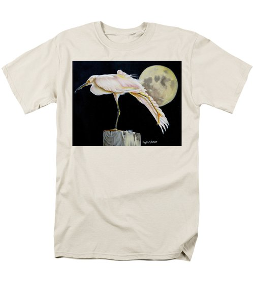 Men's T-Shirt  (Regular Fit) featuring the painting Moon Over Mississippi A Snowy Egrets Perspective by Phyllis Beiser
