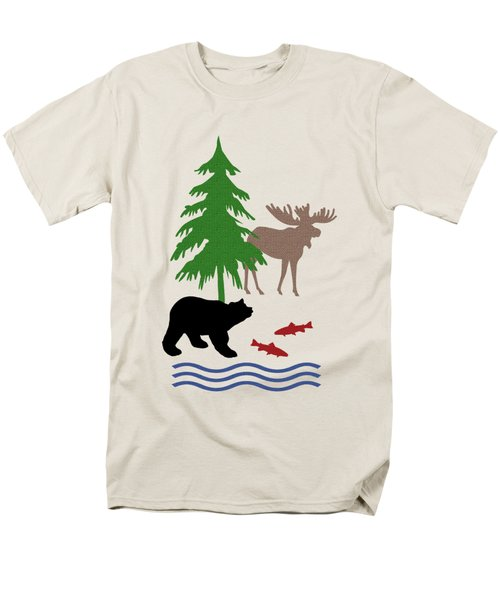 Moose And Bear Pattern Art Men's T-Shirt  (Regular Fit)