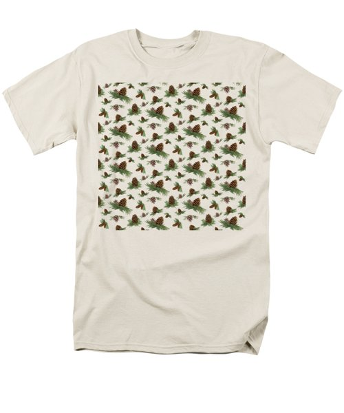 Men's T-Shirt  (Regular Fit) featuring the painting Mountain Lodge Cabin In The Forest - Home Decor Pine Cones by Audrey Jeanne Roberts