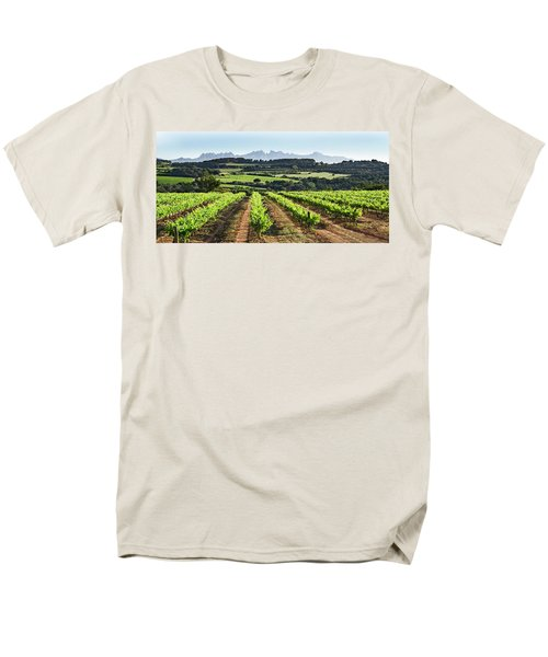 Men's T-Shirt  (Regular Fit) featuring the mixed media Mountains Of Montserrat Catalunya by Gina Dsgn