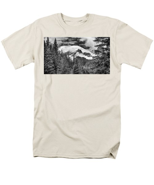 Men's T-Shirt  (Regular Fit) featuring the photograph Mt Rainier View - Bw by Stephen Stookey