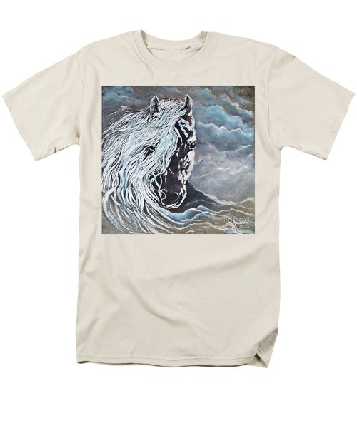 Men's T-Shirt  (Regular Fit) featuring the painting My White Dream Horse by AmaS Art
