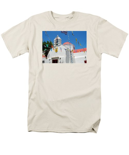 Mykonos Red Chapel Men's T-Shirt  (Regular Fit) by Robert Moss