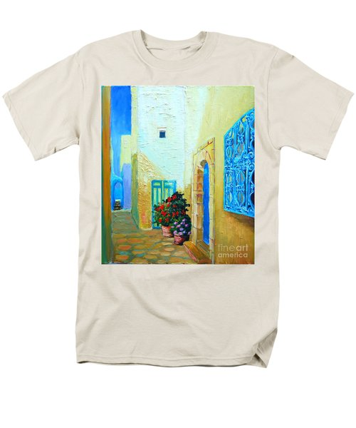 Men's T-Shirt  (Regular Fit) featuring the painting Narrow Street In Hammamet by Ana Maria Edulescu