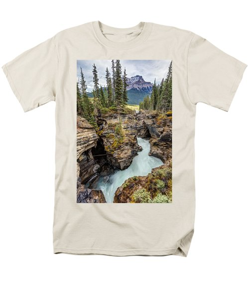 Natural Flow Of Athabasca Falls Men's T-Shirt  (Regular Fit) by Pierre Leclerc Photography