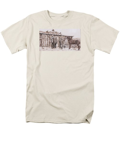 Men's T-Shirt  (Regular Fit) featuring the painting New Stallion At The Homestead Historical Vignette by Dawn Senior-Trask