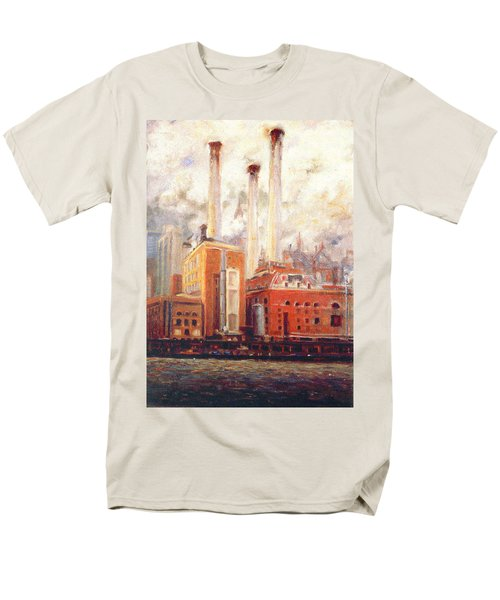 Men's T-Shirt  (Regular Fit) featuring the painting Nyc- View From East River  by Walter Casaravilla