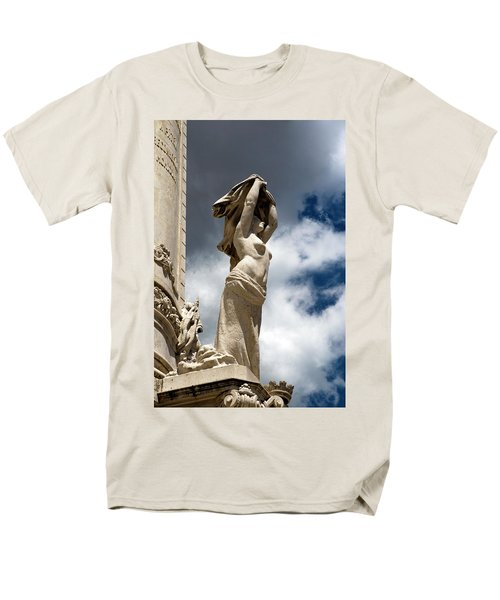 Men's T-Shirt  (Regular Fit) featuring the photograph Of Shadow And Sky In Marquis De Pombal Square by Lorraine Devon Wilke