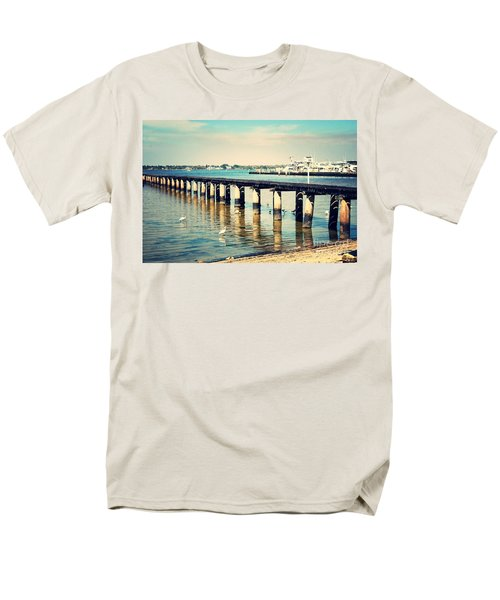 Old Fort Myers Pier With Ibises Men's T-Shirt  (Regular Fit) by Carol Groenen