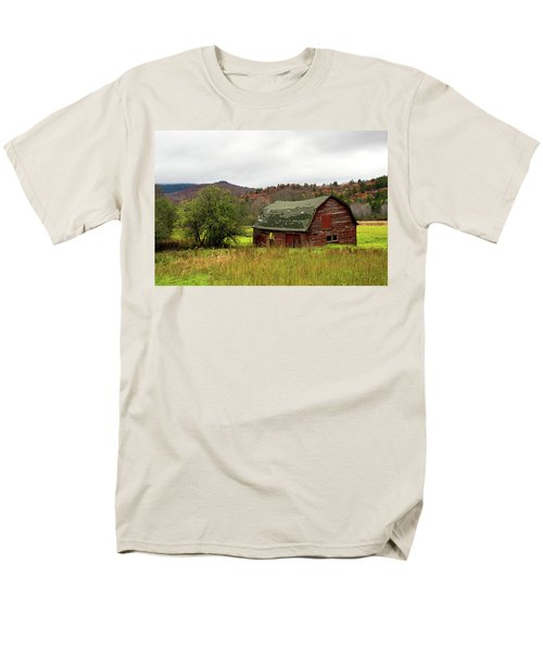 Men's T-Shirt  (Regular Fit) featuring the photograph Old Red Adirondack Barn by Nancy De Flon