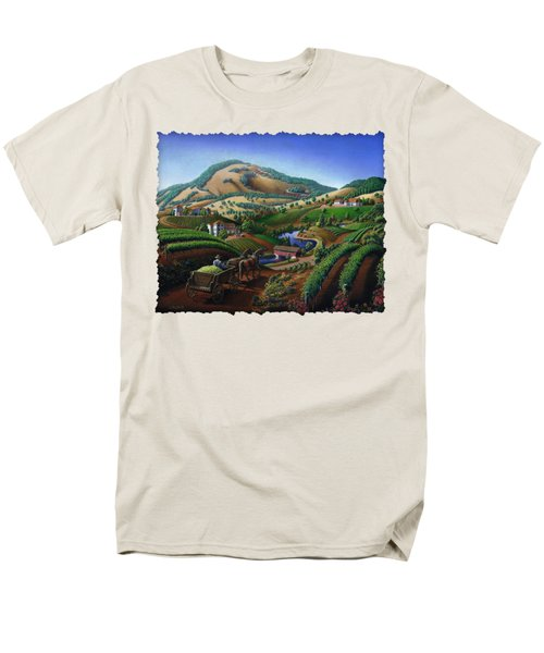 Old Wine Country Landscape - Delivering Grapes To Winery - Vintage Americana Men's T-Shirt  (Regular Fit) by Walt Curlee