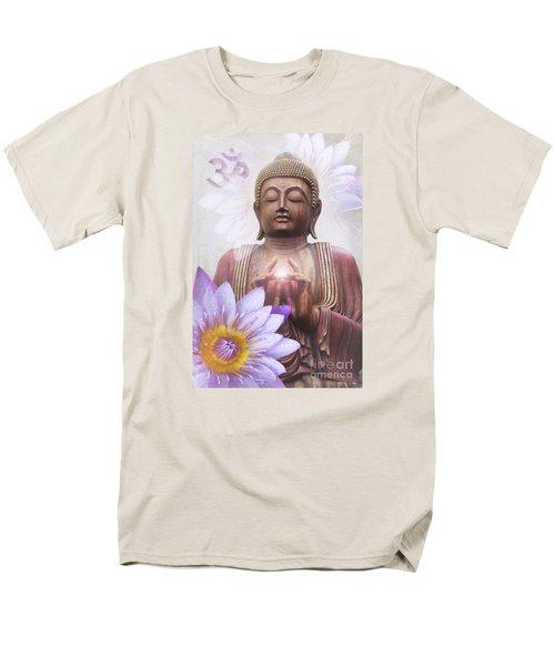 Om Mani Padme Hum - Buddha Lotus Men's T-Shirt  (Regular Fit) by Sharon Mau