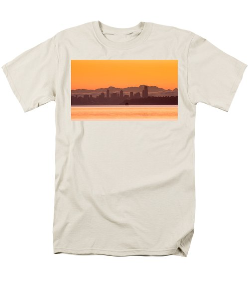 Seattle Skyline In Orange Men's T-Shirt  (Regular Fit) by E Faithe Lester