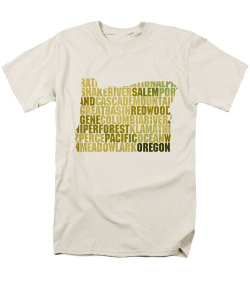 Oregon State Outline Word Map Men's T-Shirt  (Regular Fit) by Design Turnpike