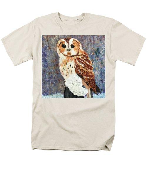 Owl On Snow Men's T-Shirt  (Regular Fit) by Donald J Ryker III