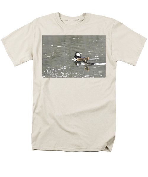 Men's T-Shirt  (Regular Fit) featuring the photograph Pair Of Hooded Mergansers by Larry Ricker