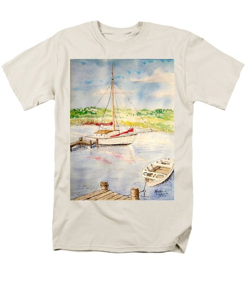 Men's T-Shirt  (Regular Fit) featuring the painting Peaceful Harbor by Marilyn Zalatan