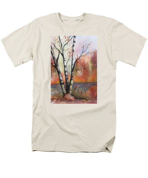 Men's T-Shirt  (Regular Fit) featuring the painting Peaceful River by Annette Berglund
