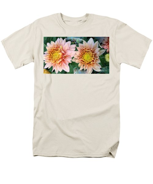 Peachy Chrysanthemums Men's T-Shirt  (Regular Fit) by Jeannie Rhode
