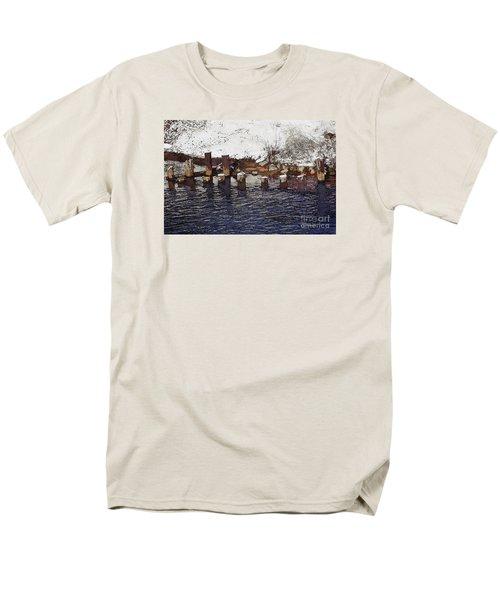 Men's T-Shirt  (Regular Fit) featuring the digital art Pier Piles by David Blank