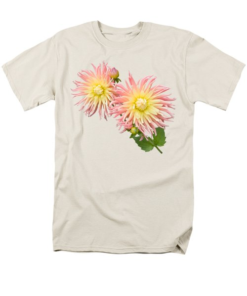 Pink And Cream Cactus Dahlia Men's T-Shirt  (Regular Fit) by Jane McIlroy