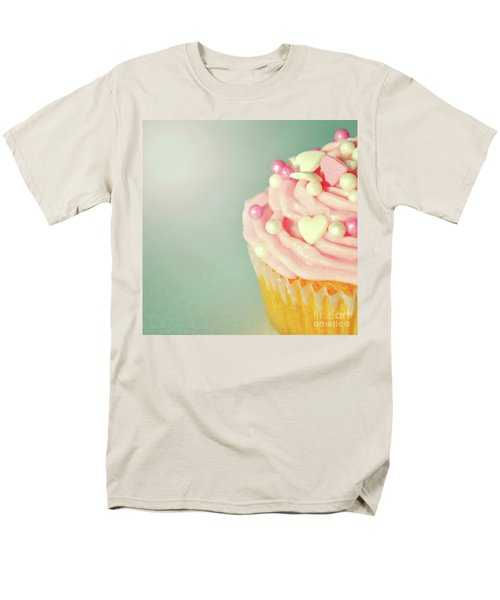 Men's T-Shirt  (Regular Fit) featuring the photograph Pink Cupcake With Lovehearts by Lyn Randle