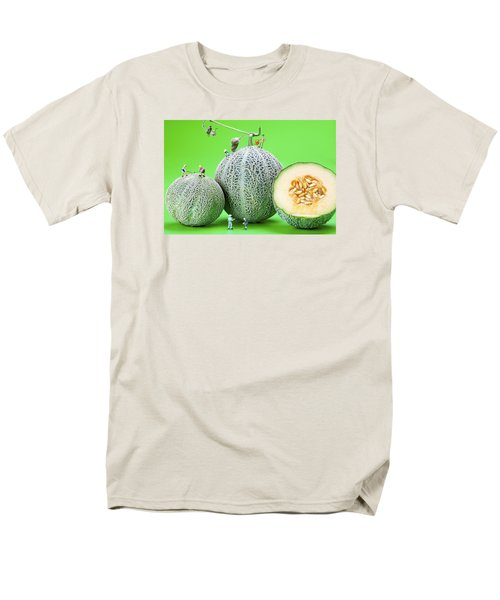 Men's T-Shirt  (Regular Fit) featuring the photograph Planting Cantaloupe Melons Little People On Food by Paul Ge